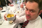 Ed is unamused with his 'hot' creme brulee